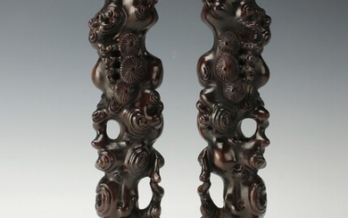 RARE PAIR CHINESE CARVED SCROLL PAPER WEIGHTS