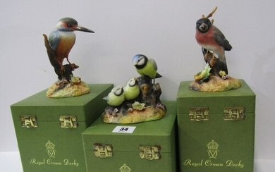 ROYAL CROWN DERBY BIRDS, three boxed figures of Blue Tit & C...