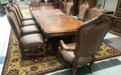 Rococo Style Carved Dining Chairs with Leather