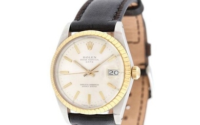 Rolex Oyster Perpetual Date wristwatch, gold and steel, men, 1982, stainless steel; yellow gold 18 k, d=35 mm / Men's gold and steel Rolex Oyster Perpetual Date wristwatch, reference 15053, automatic movement. Silver coloured dial, date with magnifying...