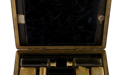Rosewood traveling case with silver gilt fittings