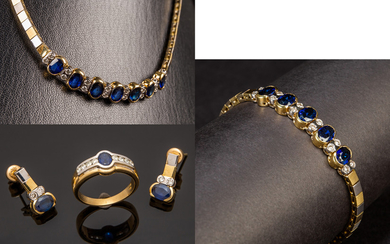Set of jewellery with sapphire and brilliant cut diamonds (4)