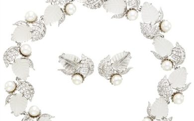 Seaman Schepps White Gold, Carved Rock Crystal, Cultured Pearl and Diamond Leaves Necklace and Pair of Earclips