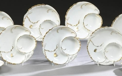 Set of Nine French Limoges Asparagus Plates, early 20th