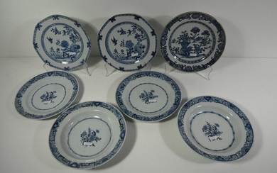 Set of six blue Chinese porcelain plates (two...