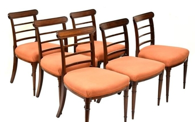 Set of six early 19th Century mahogany dining chairs,...
