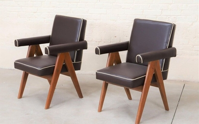 """Set of two """"senate-committee Chairs"""" by Pierre Jeanneret..."""