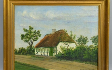 Signed Danish Painting Of Cottage