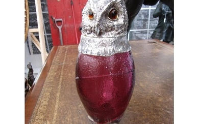 Silver Mounted Owl Motif Decanter with Cranberry Glass Well....