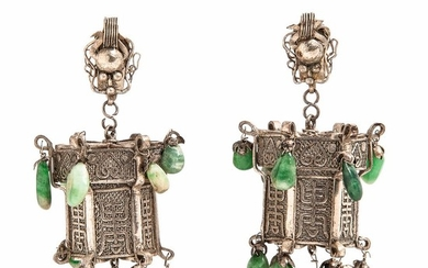 Silver and Jade Lantern-form Earrings