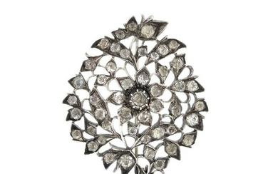 Silver pin set with rock crystal