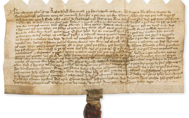 Somerset, West Bagborough.- Indenture, I, Roger Ralegh grant and confirm to John Burgeys a holding called le fforde in the manor of West Bagborough, manuscript in Latin, on vellum, 1405.