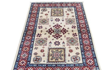 Special Kazak Pure Wool Hand-Knotted Geometric Design