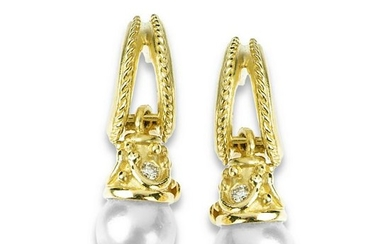 Stambolian Yellow Gold and Diamond Earrings with Pearl