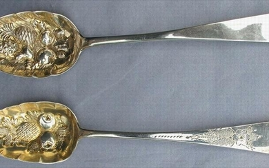 Sterling repoused Pineapple motif Berry spoons 1810-20 Hougham, London & Greenock, Scotland GC3A