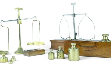 THREE SCALES AND TWO WEIGHT SETS.