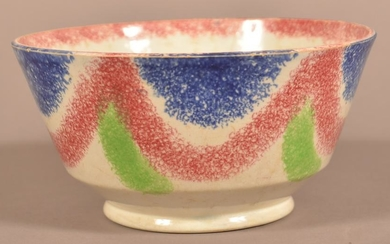 Three Color Spatter Festoon Pattern China Waste Bowl.