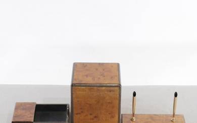 Tiffany & Co. Exotic Burl Wood 3 Piece Desk Set