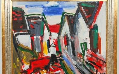 Tran Luu Hau Street Scene w Houses Oil on Canvas