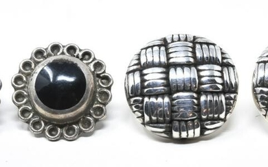 Two Pairs Vintage Sterling Silver Button Earrings