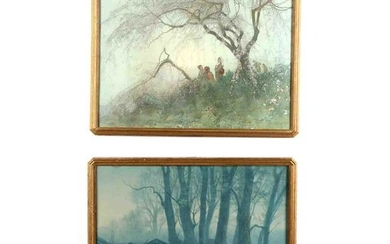 Two Printed Images of Watercolor Paintings by Hiroshi