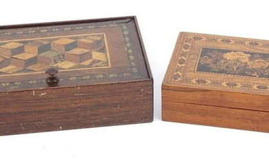 Two Victorian Tunbridge Ware boxes including one with