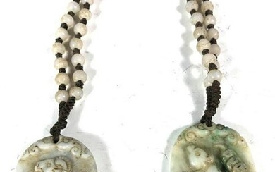 Two White Carved Hardstone Necklaces