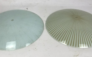 Two mid Century Modern style glass shades