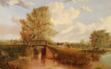 VIEW ON THE RIVER LARK SUFFOLK BY A. AUSTIN 19TH C.