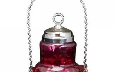 Victorian Cranberry Glass Silver Plate Pickle Caster