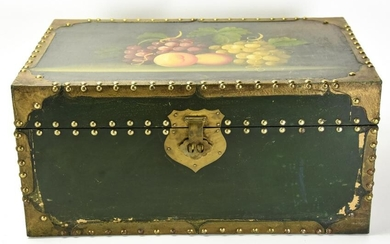 Vintage Hand Painted Lacquer Box w Fruit Motif