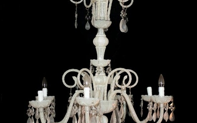 Vintage Murano Glass and Crystal Chandelier