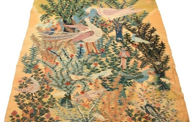 W.W. HAND-WOVEN WOOL TAPESTRY, 1947