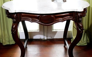 Walnut Victorian white marble top center table