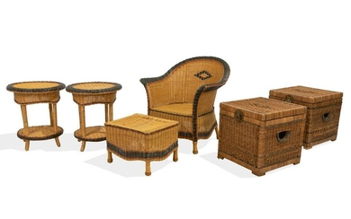 Wicker Chair, Ottoman, Chests and Tables