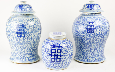 "(lot of 3) Three Blue and White "" Marriage"" ginger Jars"