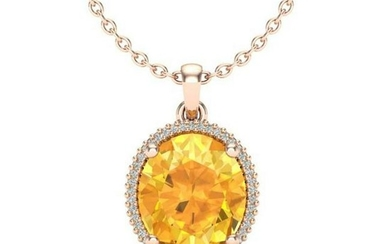 10 ctw Citrine & VS/SI Diamond Necklace 14K Rose Gold