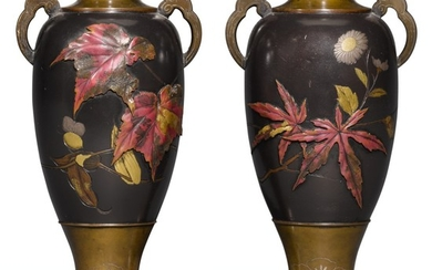 A PAIR OF BRONZE VASES, SIGNED YUKIMUNE ZO, MEIJI PERIOD, LATE 19TH CENTURY