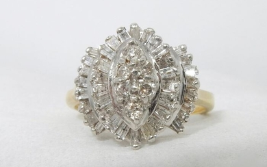 14 kt. Gold, White gold, Yellow gold - Ring Diamond - Diamonds
