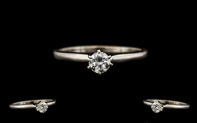 14ct White Gold Excellent Single Stone Diamond Set Ring - th...