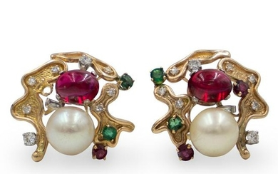 14k Gold, Pearl and Ruby Earrings