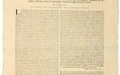 """1727. BURGUNDY & BRUSSELS. """"Arrest of the Council of State of the KING, enacting Regulations for the Control of Leases and Revenues of the SECULAR & REGULAR COMMUNITIES, & other People of MAIN-DOOR, both past and future."""" Given at VERSAILLES (78) on..."""