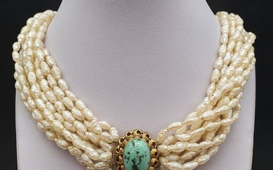 18 kt. Freshwater pearl, Yellow gold - Necklace Turquoise
