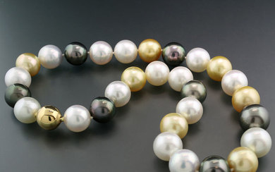 18 kt. Gold, Multicolor south sea pearls, Tahiti pearls - Necklace Fine large beads 14.0-16.2 mm White Gold Anthracite exquisite chandelier