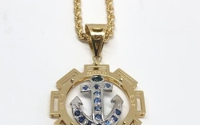 18 kt. White gold, Yellow gold - Necklace with pendant - Sapphires