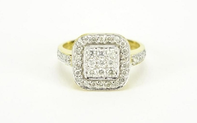 18ct gold diamond cluster ring, size L, 3.5g