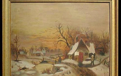 19 Century Oil On Canvas Landscape Painting