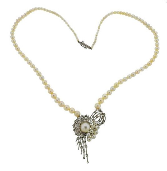1950s 14k Gold Diamond Pearl Spray Pendant Necklace