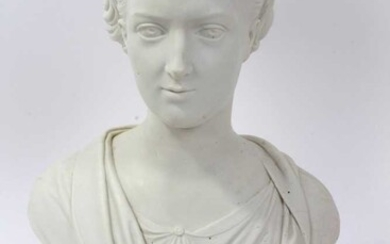 19th Century Royal Copenhagen Parian Ware bust of Princess Alexandra, by Theobald Stein (1829 - 1901), raised on plinth base with impressed factory marks to reverse.
