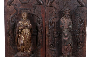 (2) EARLY GERMAN CARVED CHURCH PANELS